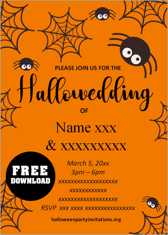 free printable halloween wedding