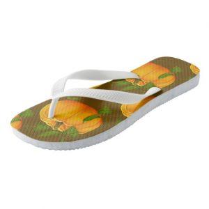 pumpkin flip flop sandals