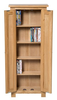 Waverly Oak 2 Door DVD Storage Cupboard Cabinet | Hallowood