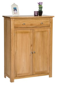 Large Oak Shoe Storage Cabinet | Wooden Hallway Cupboard ...