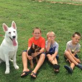 Crux with my boys and Draco (Hall's white shepherd)