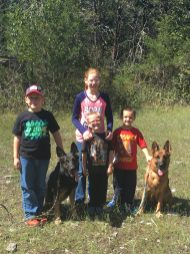 Halls kids with the Hall GSDs on a 5 miles hike at Henry Horton State Park