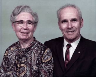 An older couple in a formal portrait