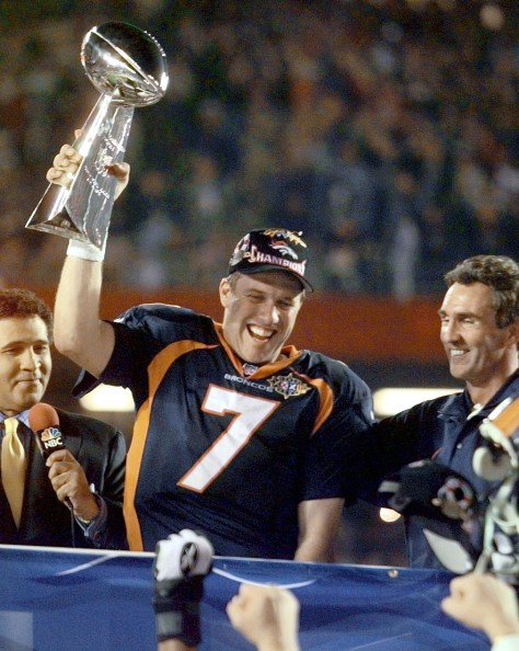 John Elway winning Super Bowl XXXII