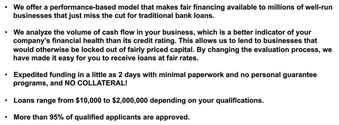 company loans with no collateral