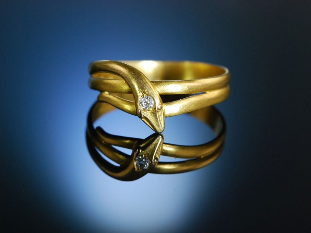 Antiker Schlangering Gold 585 Altschliff Diamant um 1890