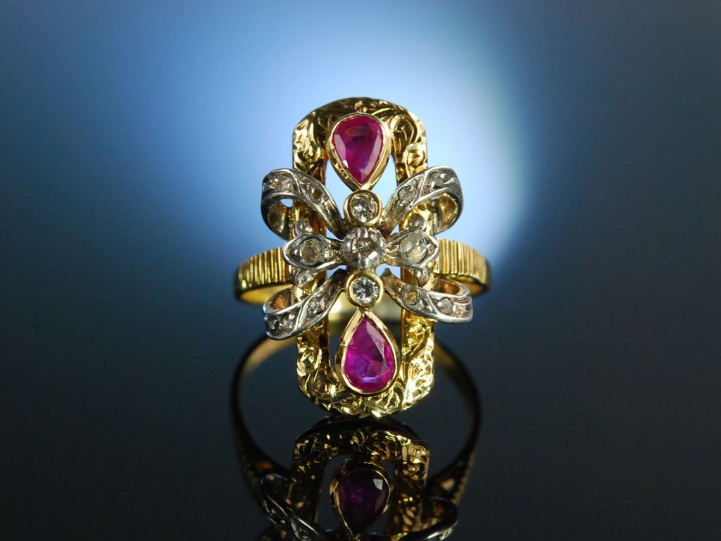 Aparter Cocktail Ring um 1910 Gold 750 Rubine Diamant