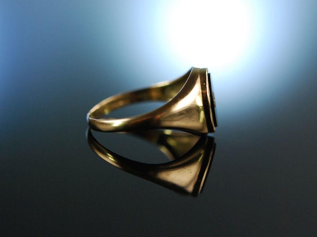 Birmingham um 1977 KLassischer Onyx Diamant Ring Gold 375