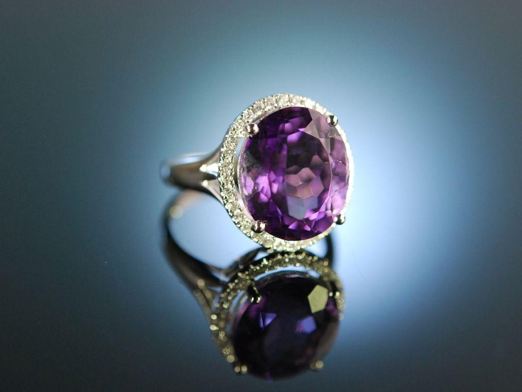 Bright Violet Traum Ring Wei Gold 750 Amethyst