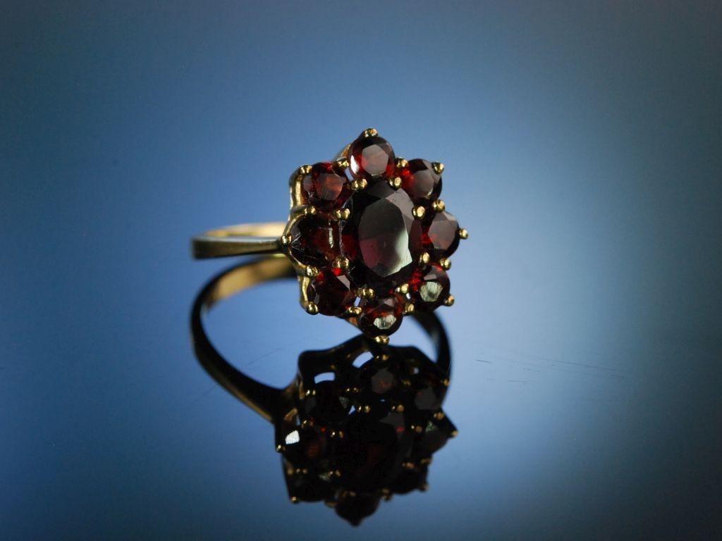 Classy Garnet Granat Ring Gold 333 Mnchen um 1950 Trachtenring