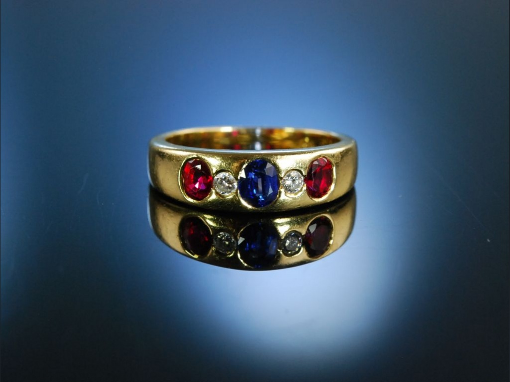 Exquisiter Bandring Gold 750 Saphir Rubine Brillanten  59900