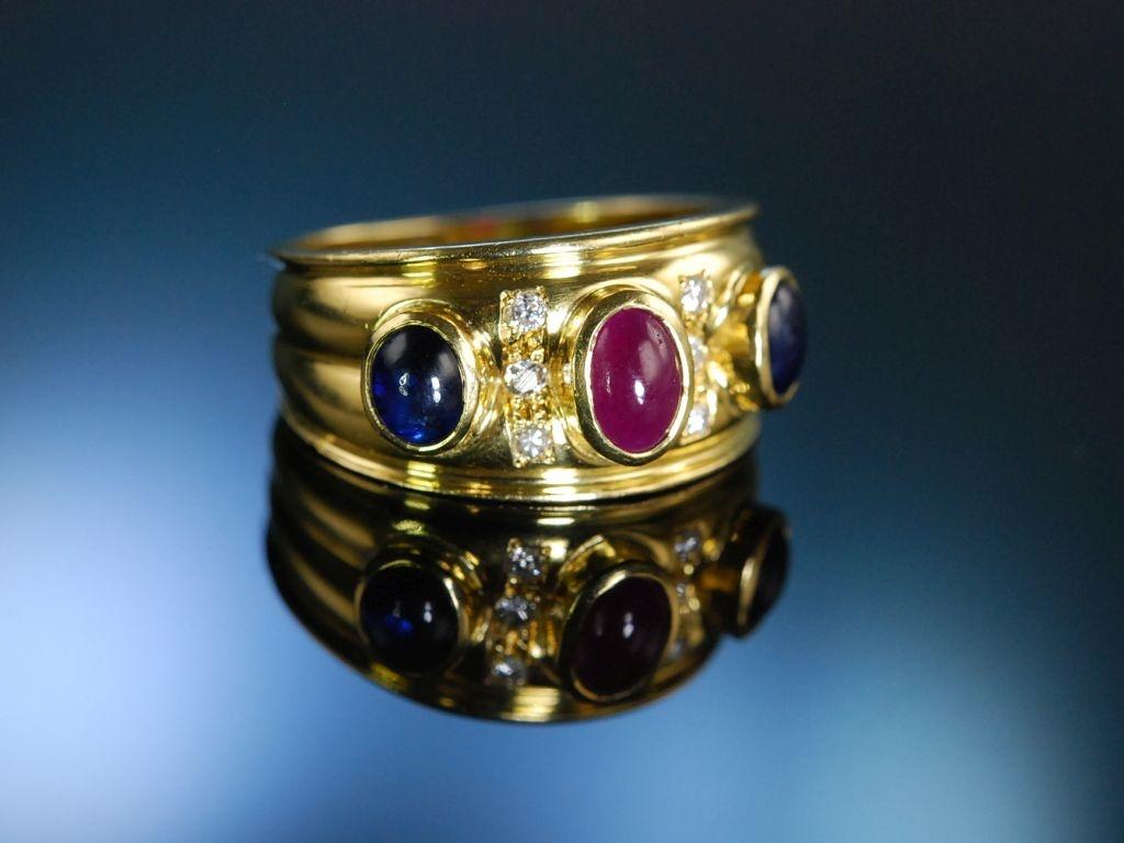 Exquisiter Ring Gold 750 Saphire Rubin Brillanten um 2005 49900 eu