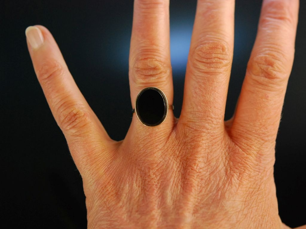 Familien Ring Damen Wappen Siegel Ring Gold 333 Onyx ungraviert 179