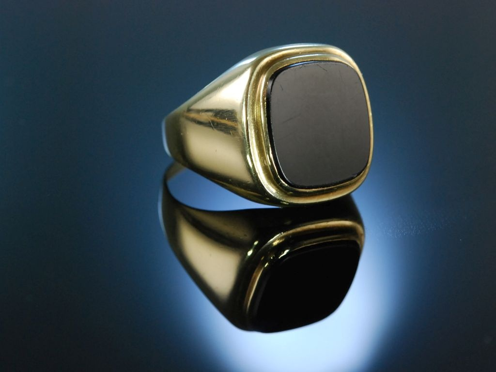 Herrenring Siegel Ring Wappenring Gold 333 Onyx um 1950