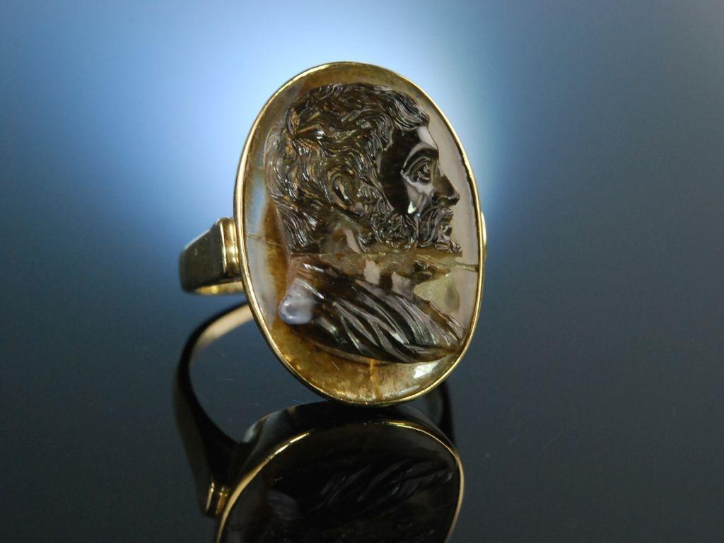 Historische Achat Kamee um 1600 Ring Gold 585 mit