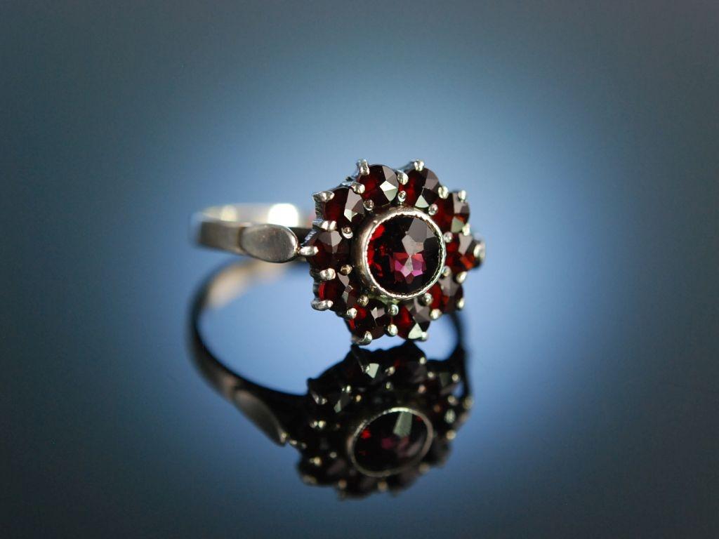 Historischer Granat Ring Silber sterreich um 1910