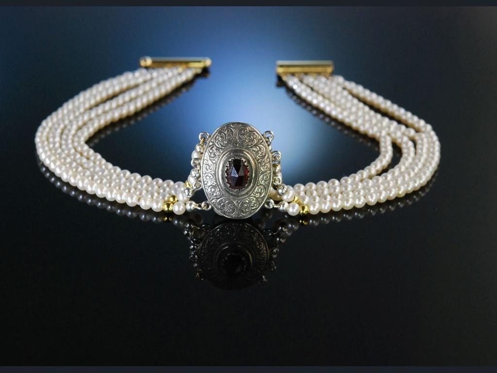 Kropfkette Trachten Kette Perlen 4reihig Silber Granat Graz um 1950