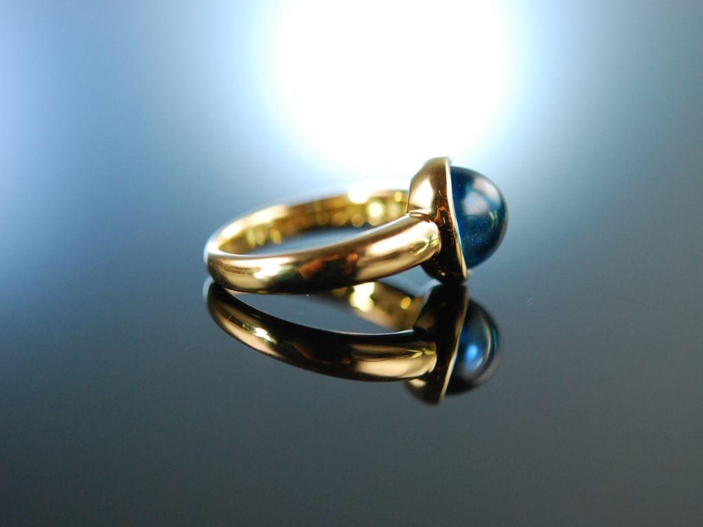 Meeresblau Schner klassischer Ring Gold 750 Blau Topas