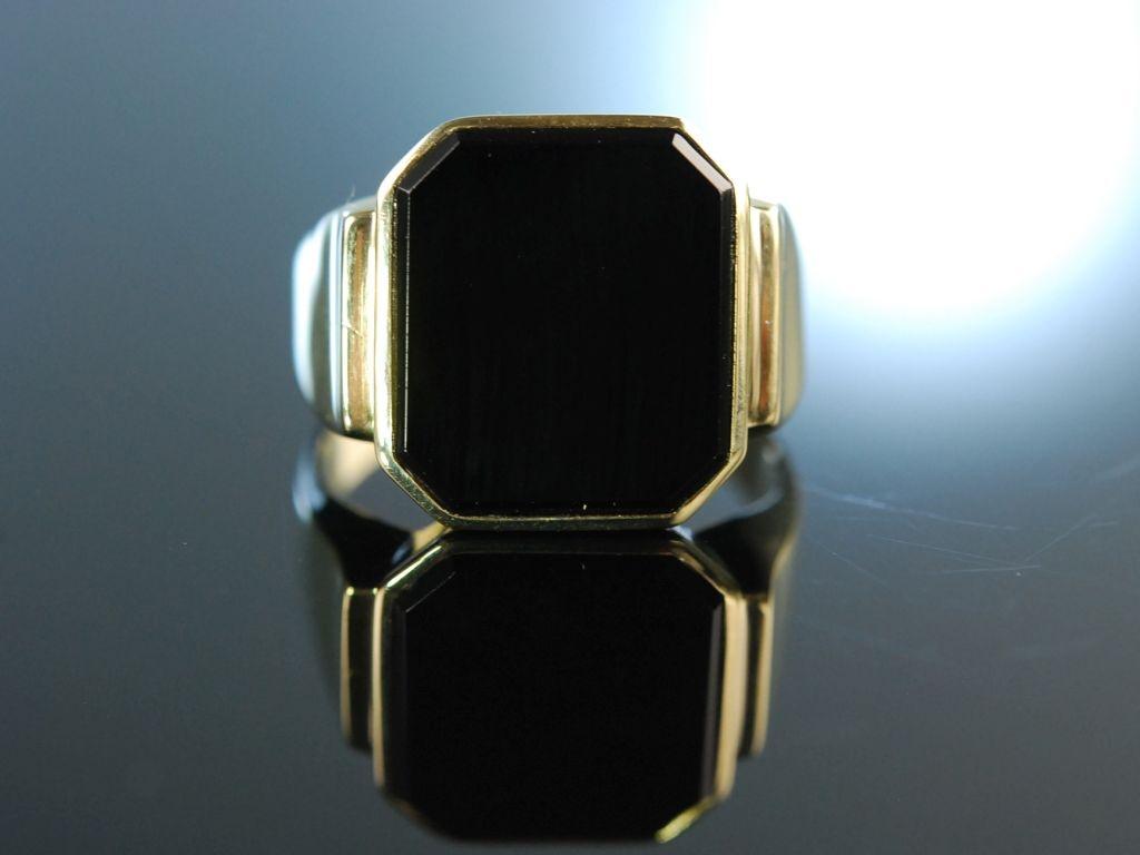 Schwerer Siegel Monogramm Familien Ring Gold 333 Onyx 249