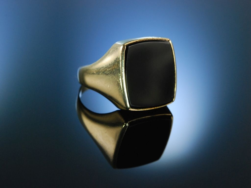 Siegelring Herren Ring Wappenring Gold 333 Onyx 19900