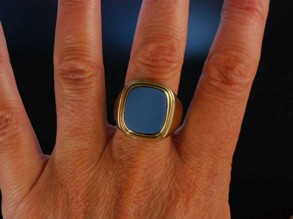Siegelring Wappenring Herren Ring Gold 333 Lagen Achat 24900