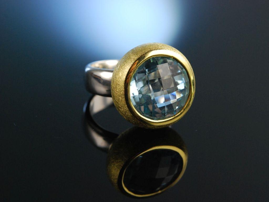 Sky Blue Topas Massiver Ring satiniertes Silber 925