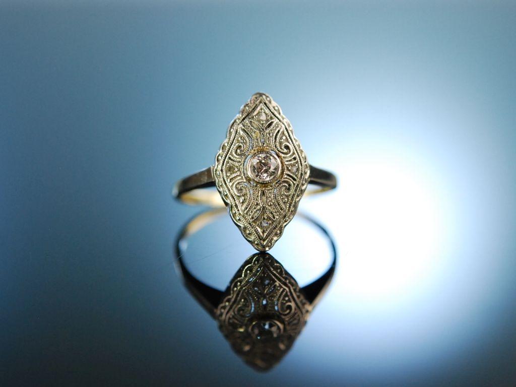 True love Antiker Art Deco Diamant Verlobungs Ring Gold