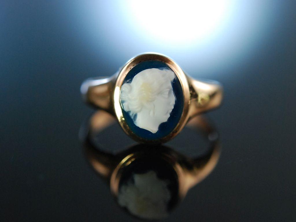 Victorian Cameo Antiker Gemmen Ring um 1900 Gold 585