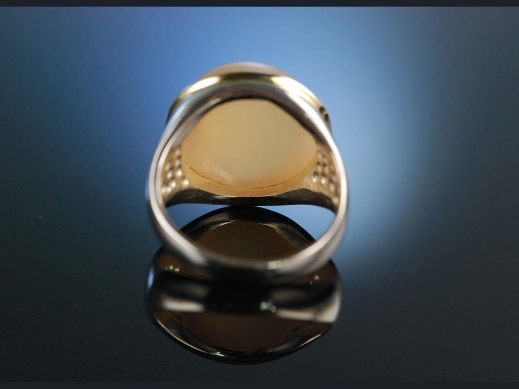 Warmes Orange Ring Mondstein Cabochon Silber 925