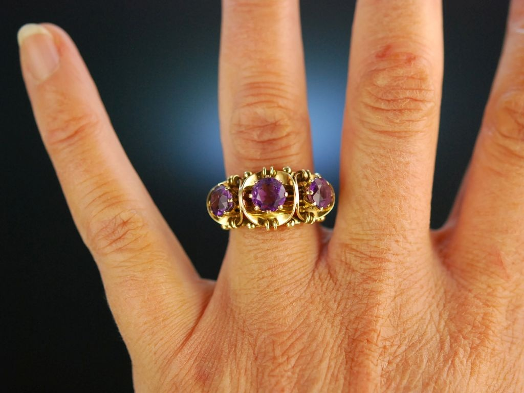 Schicke Fifties Vintage Cocktail Ring Gold 585 Amethyste