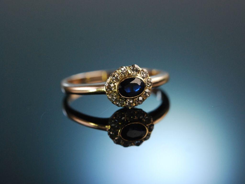Blau wie deine Augen Verlobungs Engagement Ring Rot Gold