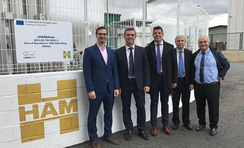 HAM abre estación de servicio de gas natural comprimido licuado en el Puerto de Barcelona, financiada por la UE a través del Proyecto cHAMaleon