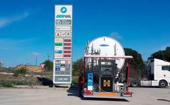 HAM Group LNG mobile unit allows refueling of liquefied natural gas (LNG) at the Beroil de Fuentecén service station, Burgos