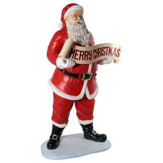 Santa with Christmas Banner statue