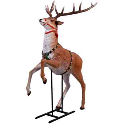 Rearing Reindeer for Sleigh statue