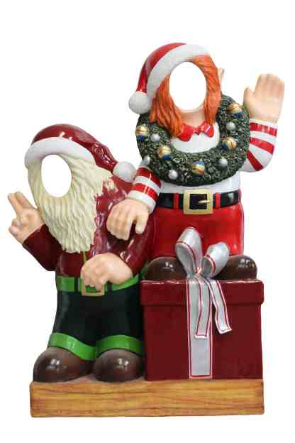 Crazy Elves on Gift Box Photo-Op