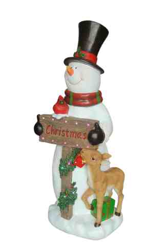 Snowman with Reindeer statue
