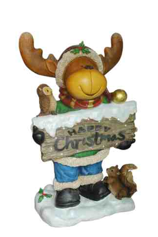 Funny Reindeer with Sign statue