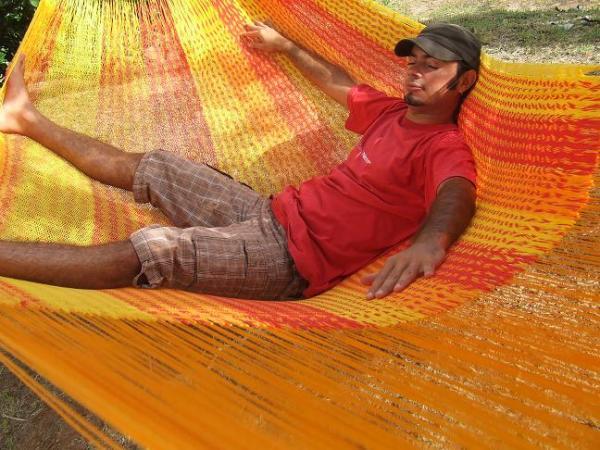 HAMAC MEXICAIN FAMILIAL artisanal jaune rouge