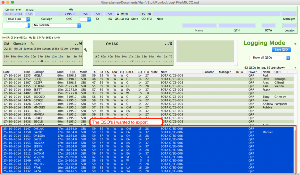 Select QSO's to Export