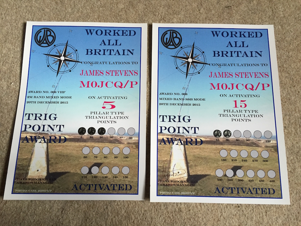 My WAB Trig Point Awards for 2015