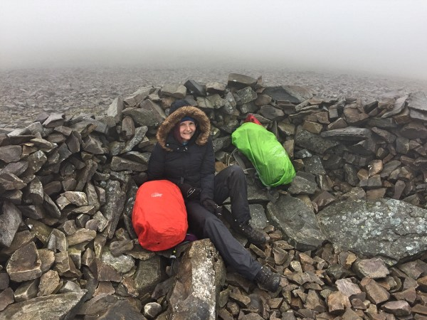 YL sheltering on a miserable Mynadd Mawr (GW/NW-026)