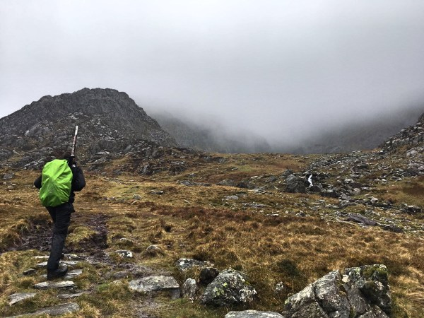 Descending up into the mist covered summit of Carnedd Llwelyn (GW/NW-002)