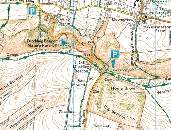 Map of Ditchling Beacon Summit