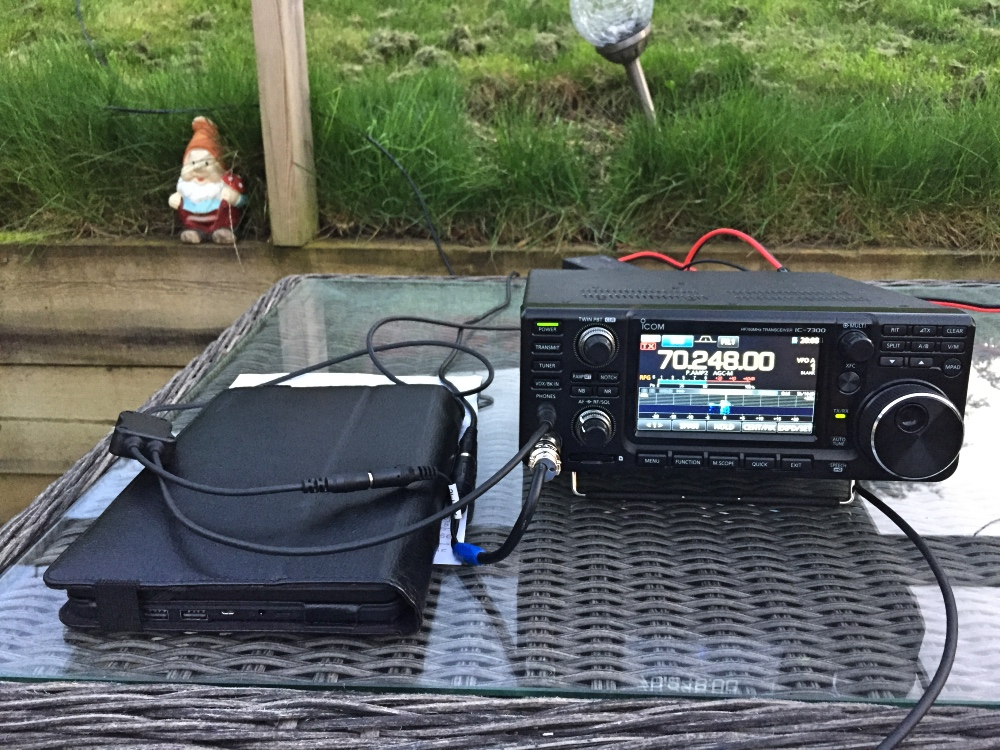 Icom 7300 setup alfresco on a sunny evening for the 4m contest