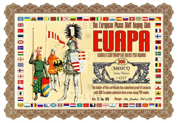 Worked 200 European Areas PSK Award