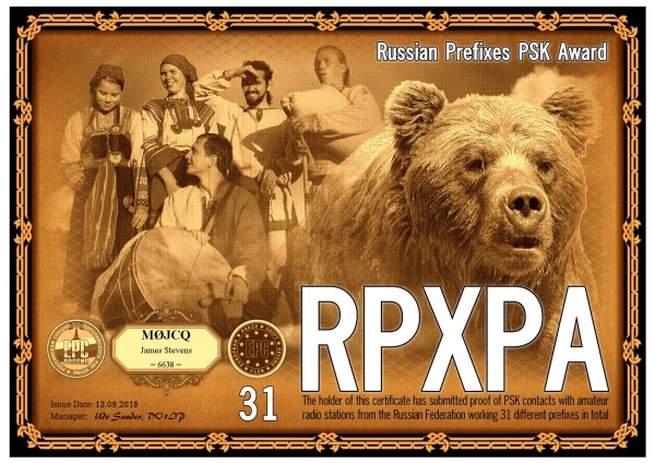 Russian Prefixes PSK Award - 31 prefixes worked