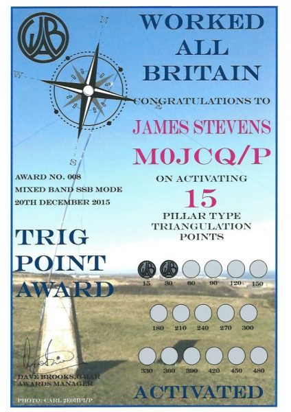 WAB Trig Point Award - HF - 30 endorsed