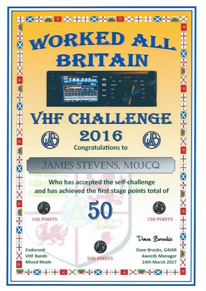 WAB VHF Challenge 2016 - First Certificate - 200 pts endorsed
