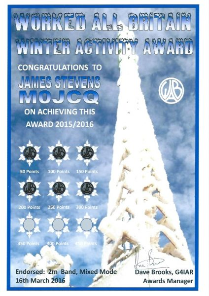 WAB Winter Activity Award 2015-16 - 300 pts endorsed